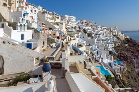 fira: Town of Fira Santorini Tira Island Cyclades Stock Photo