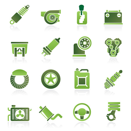 hub computer: Car part and services icons   vector icon set