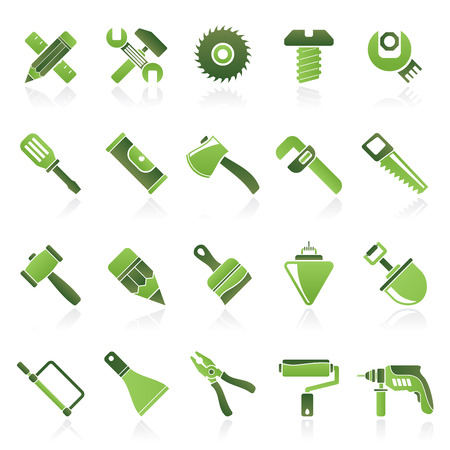 Construction tools object icons  vector icon set Vector