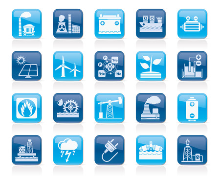Electricity and Energy source icons  vector icon set Vector