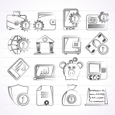 Financial banking and money icons  vector icon set Vector