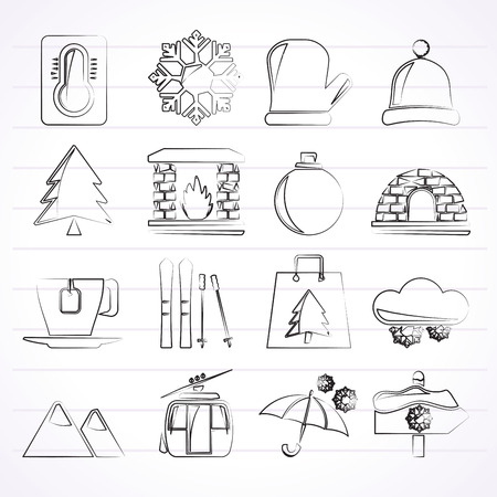Winter Sport and relax icons  vector icon set Created For Print Mobile and Web  Applications Vector