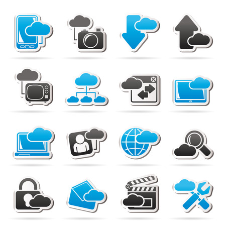 cloud services: cloud services and objects icons  vector icon set