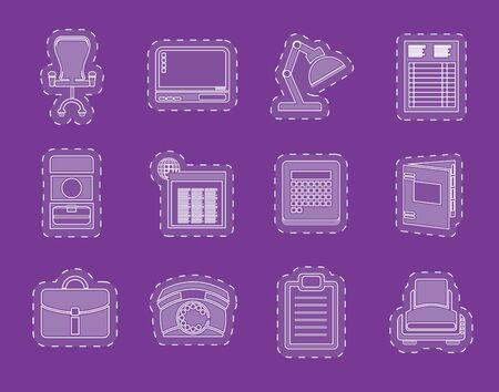 fermo: Semplice ufficio Business e le icone ferme vector icon set