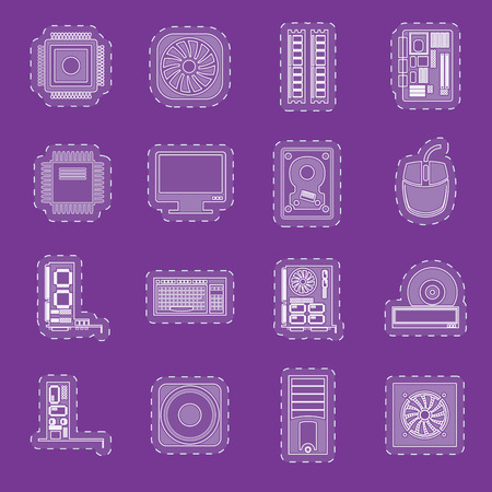 Computer  performance and equipment icons  vector icon set Vector