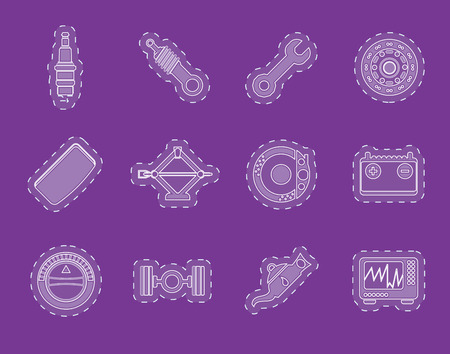 sparking plug: Realistic Car Parts and Services icons  Vector Icon Set 1
