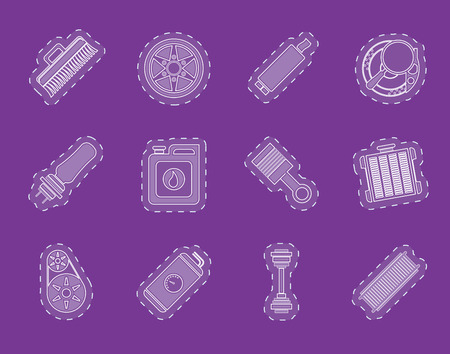 gas radiator: Realistic Car Parts and Services icons  Vector Icon Set 2