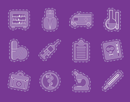 taking pulse: Medical and healthcare Icons Vector Icon Set