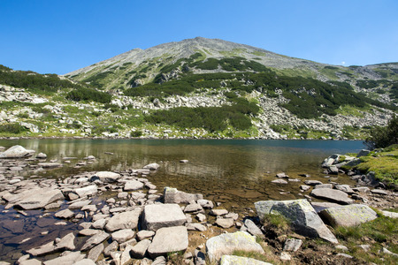 long lake: The Long Lake Pirin Mountain Bulgaria Stock Photo