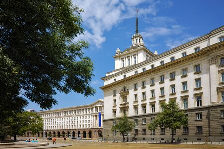 ministers: Independence Square and the building of the Council of Ministers  Sofia Bulgaria Editorial