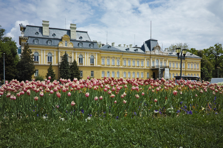 Spring Landscape of the Royal palace  Sofia Bulgaria Editorial