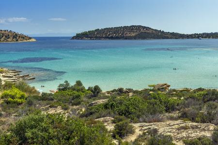 sithonia: Lagonisi Beach Chalkidiki  Sithonia Central Macedonia Greece Stock Photo