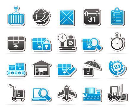 cinta transportadora: Logística y envío iconos vectoriales conjunto de iconos