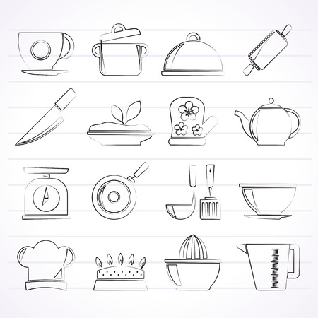 Restaurant and kitchen items icons   vector icon set Created For Print Mobile and Web  Applications Vector