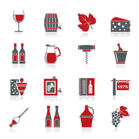 vaso de vino: La industria del vino de objetos iconos icono de conjunto de vectores