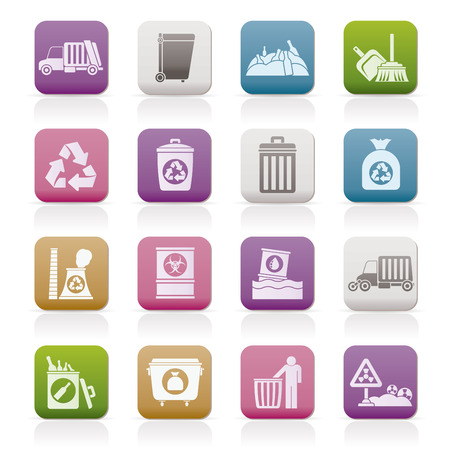 Garbage cleaning and rubbish icons  vector icon set Illustration