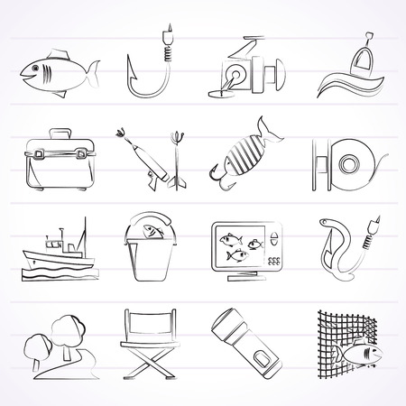 fishing vessel: Fishing industry icons  vector icon set Created For Print Mobile and Web  Applications