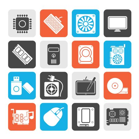 computer part: Silhouette Computer part icons  vector icon set