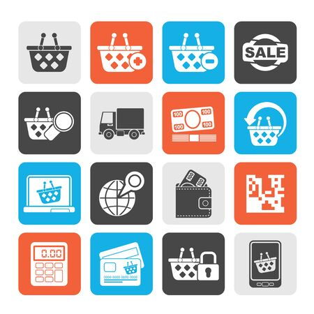 bankcard: Silhouette shopping and retail icons  vector icon set