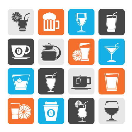 non alcoholic beer: Silhouette drinks and beverages icons  vector icon set