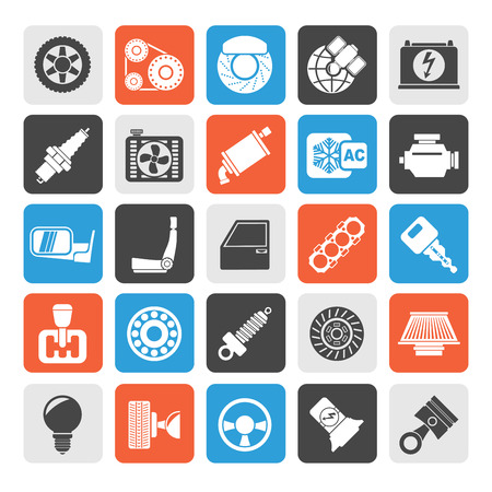 computer part: Silhouette Car parts and services icons  vector icon set