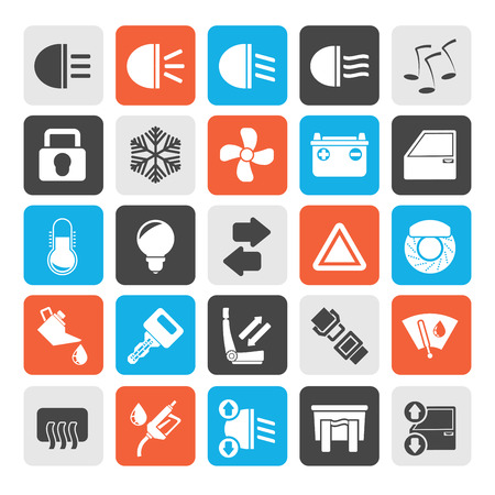 windshield wiper: Silhouette Car interface sign and icons  vector icon set