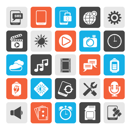 settings: Silhouette Mobile Phone Interface icons  vector icon set