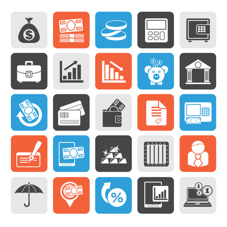 Silhouette Bank business and finance icons  vector icon set Vector