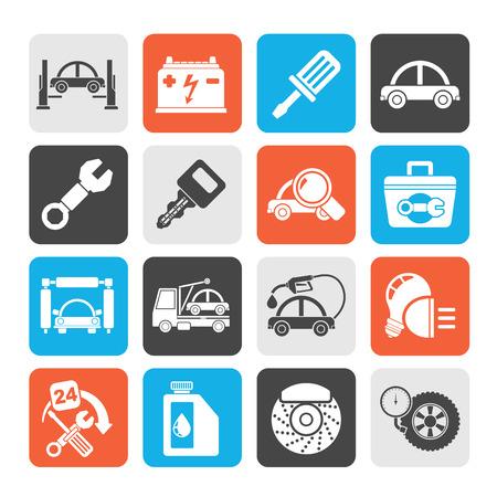 mantenimiento: Silueta iconos de mantenimiento para servicio de vehículos icono conjunto de vectores