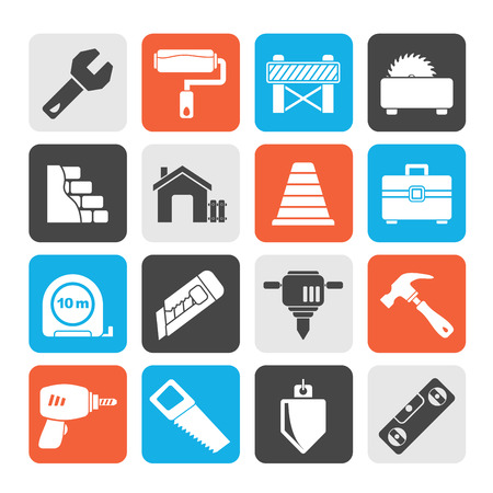 buzz saw: Silhouette Building and construction icons  vector icon set