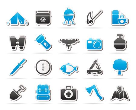 gas barbecue: Camping travel and Tourism icons icon set