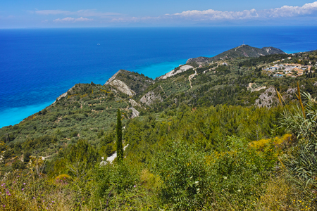 ionian island: Lefkada island Landscape with forest and Ionian sea Ionian Islands Greece Stock Photo