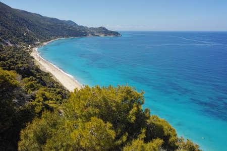 blue waters: Blue Waters of Kokkinos Vrachos Beach Lefkada Ionian Islands Greece Stock Photo