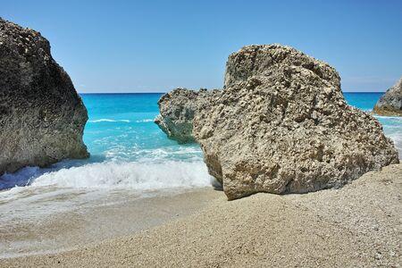 blue waters: Blue Waters of Megali Petra Beach Lefkada Ionian Islands Greece