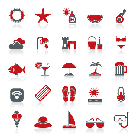 Beach resort and entertainment icons  vector icon set Vector