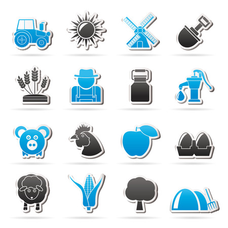 agrimotor: Agriculture and farming icons  vector icon set Illustration
