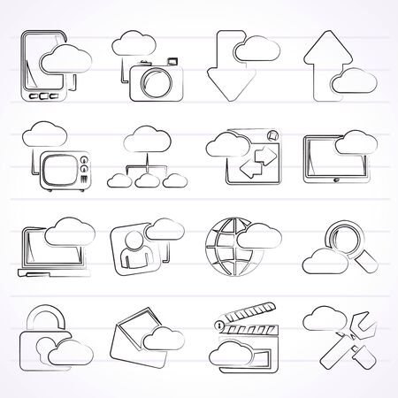 cloud services and objects icons  vector icon set Vector