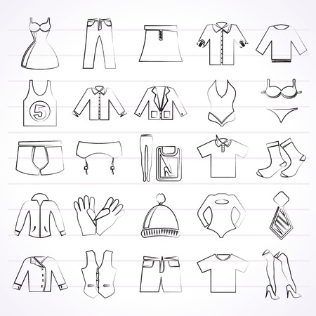 Clothing and Fashion collection icons  vector icon set Vector