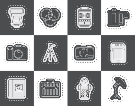 Photography equipment icons  vector icon set