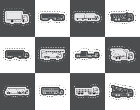 tanker type: different types of trucks and lorries icons  Vector icon set Illustration