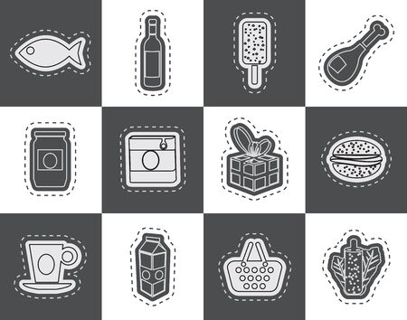tinned: Shop food and drink icons 1  vector icon set Illustration