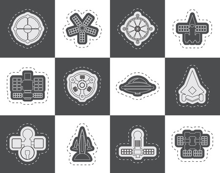 different kinds of future spacecraft icons  vector icon set Vector