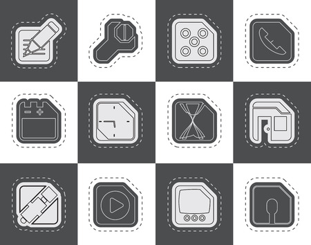 mobile internet: Mobile Phone Computer and Internet Icons  Vector Icon Set 2