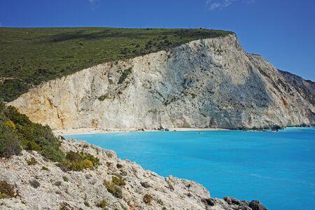 blue waters: Blue Waters of Porto Katsiki Beach Lefkada Ionian Islands Greece Stock Photo