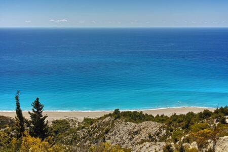 blue waters: Blue Waters of Gialos Beach Lefkada Ionian Islands Greece Stock Photo