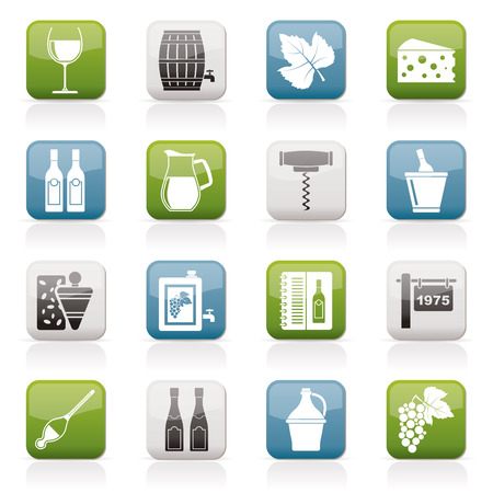 wine industry: Wine industry objects icons vector icon set Illustration