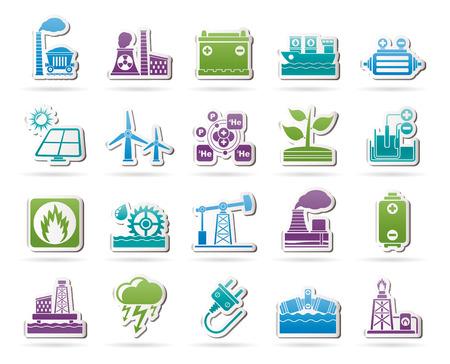thermal power plant: Electricidad y fuente de energ�a iconos conjunto de iconos vectoriales Vectores