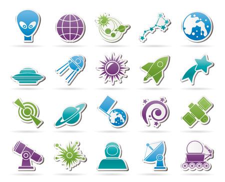 astronomie: Astronomie und Raumfahrt icons vector icon set