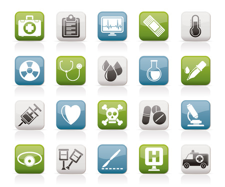 medical icons: medical tools and health care equipment icons   vector icon set