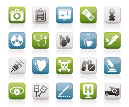 egészségügyi ellátás: orvosi eszközök és egészségügyi berendezések ikonok vektor icon set Illusztráció